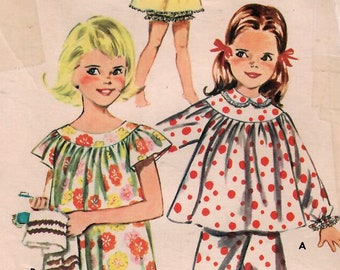 59a97dc418 1960s Butterick 9988 Vintage Sewing Pattern Girls Long Pajamas