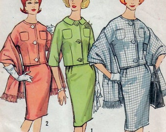 1060f261 1960s Simplicity 4308 UNCUT Vintage Sewing Pattern Misses Proportioned  Suit, Skirt, Short Jacket, Stole Size 12 Bust 32