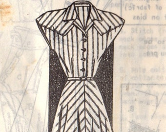 1940s Mail Order 8285 Vintage Sewing Pattern Misses Shirtwaist Dress Size 12 Bust 30