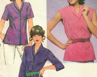 1980s Simplicity 9491 Vintage Sewing Pattern Misses Relaxed Fit Blouse, Shirtwaist Blouse, Casual Blouse, Shirt Size 10 Bust 32-1/2