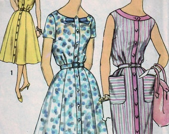 1950s Simplicity 2585 UNCUT Vintage Sewing Pattern Misses Half Size Dress, Slim Dress, Flared Dress Size 16-1/2 Bust 37