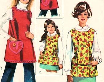 1960s Simplicity 8563 Vintage Sewing Pattern Misses Full Apron, Cobbler Apron, A-line Apron, Fitted Apron Size Large