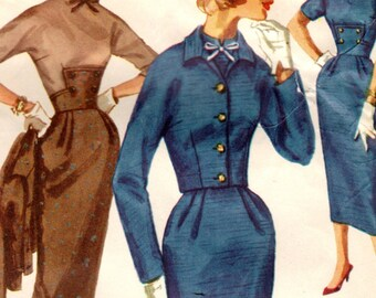 1950s Simplicity 2172 UNCUT Vintage Sewing Pattern Misses Sheath, Midriff Dress, Cropped Jacket Size 14 Bust 34