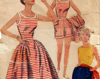 1950s Simplicity 4290 Vintage Sewing Pattern Misses Sleeveless Blouse, Full Skirt, Shorts, Pedal Pushers, Capris Size 12 Bust 30
