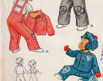 1950s McCall's 1623 UNCUT Vintage Sewing Pattern Infant Overalls, Jacket, Cap or Hat Motifs Size 6 Months