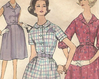 1960s Simplicity 4003 Vintage Sewing Pattern Misses Half Size Shirtwaist Dress Size Bust 33, Bust 35, Bust 37, Bust 41