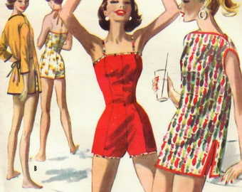 1950s McCall's 3616 UNCUT Vintage Sewing Pattern Misses Swimsuit, Bathing Suit, Playsuit, Beach Coverup Size 16 Bust 34