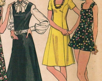 1970s McCall's 3632 UNCUT Vintage Sewing Pattern Misses' A-line Dress, Princess Dress, Jumper, Playdress Size 10 Bust 32-1/2