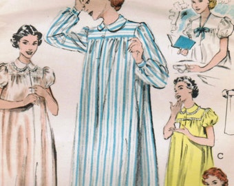 1950s Butterick 6315 Vintage Sewing Pattern Misses Nightgown 88d383f9f