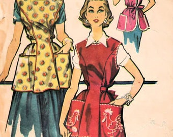 1950s McCall's 2133 Vintage Sewing Pattern Misses Full Apron, Cobbler Apron, Fitted Apron, Oven Mitt Size Medium