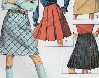 1960s Simplicity 6707 UNCUT Vintage Sewing Pattern Girls A-line Skirt, Pleated Skirt, Kilt Size 4