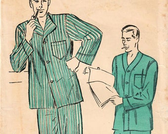 1940s Advance 4641 Vintage Sewing Pattern Men's Long Pajamas, Short Pajamas, Tailored Pajamas Size 34-36, Size Size 38-40