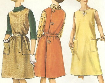 1960s Simplicity 5028 UNCUT Vintage Sewing Pattern Misses Wrap Jumper and Blouse Size 14 Bust 34
