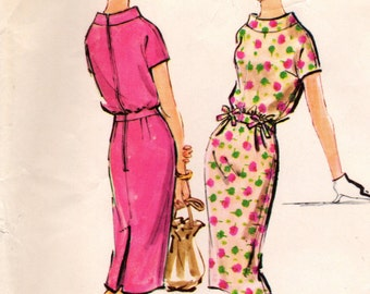 1950s McCall's 4813 Vintage Sewing Pattern Junior Sheath, Slim Dress, One Piece Dress Size 13 Bust 33