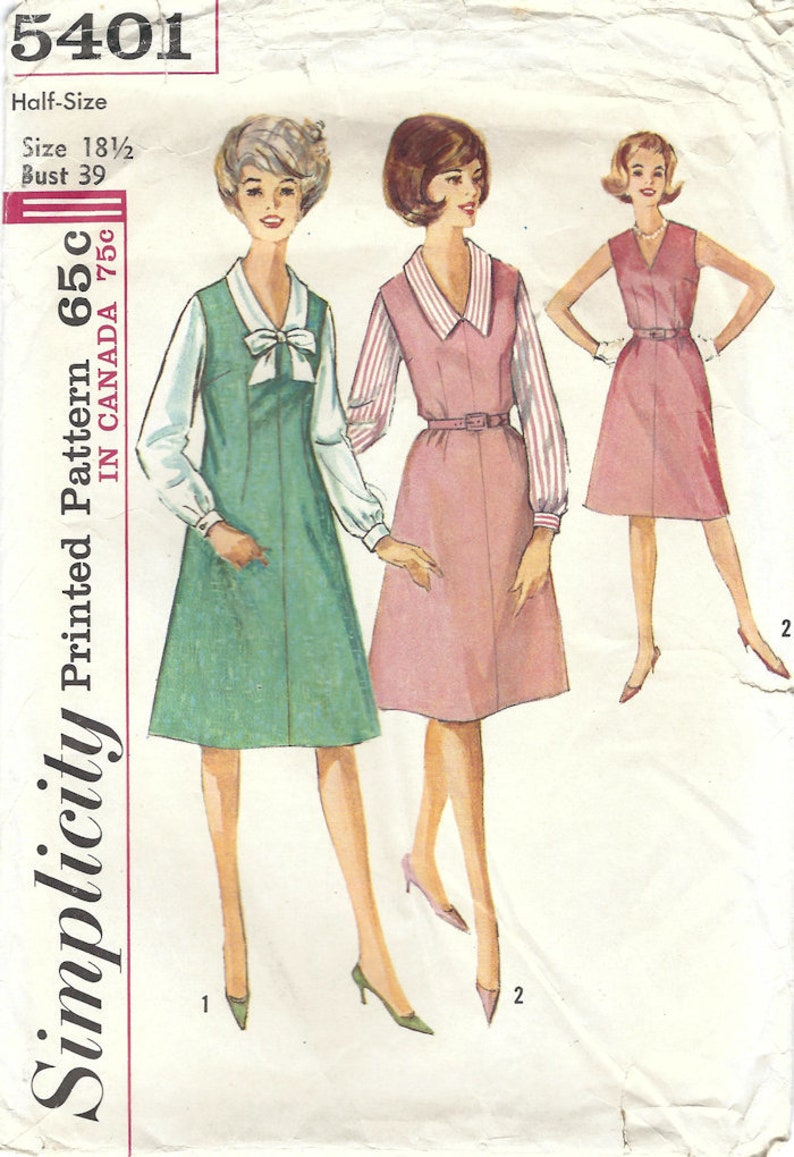 Simplicity 5401 Vintage Sewing Pattern Misses Half Size One image 0