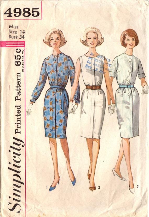 1960s Simplicity 4985 Vintage Sewing Pattern Misses Slim | Etsy