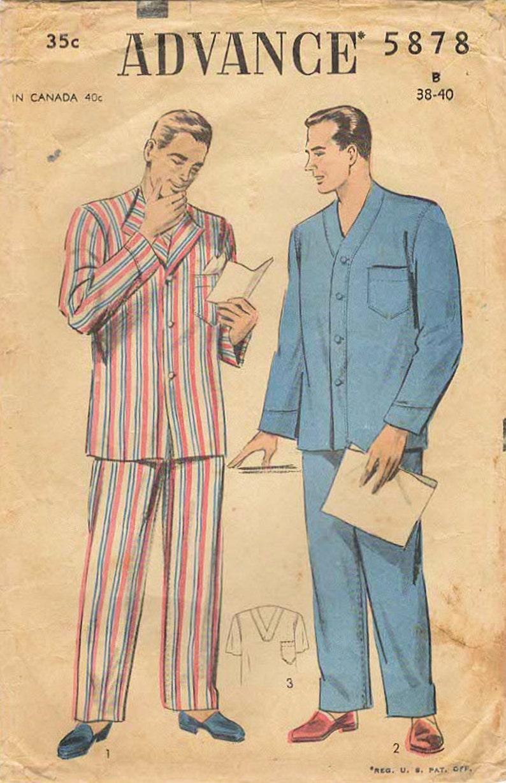 1950s Advance 5878 Vintage Sewing Pattern Men's Pajamas image 0