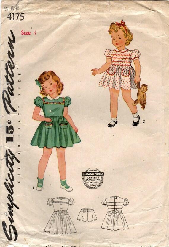 1940er Jahre Einfachheit 4175 Vintage Nähen Muster Mädchen | Etsy