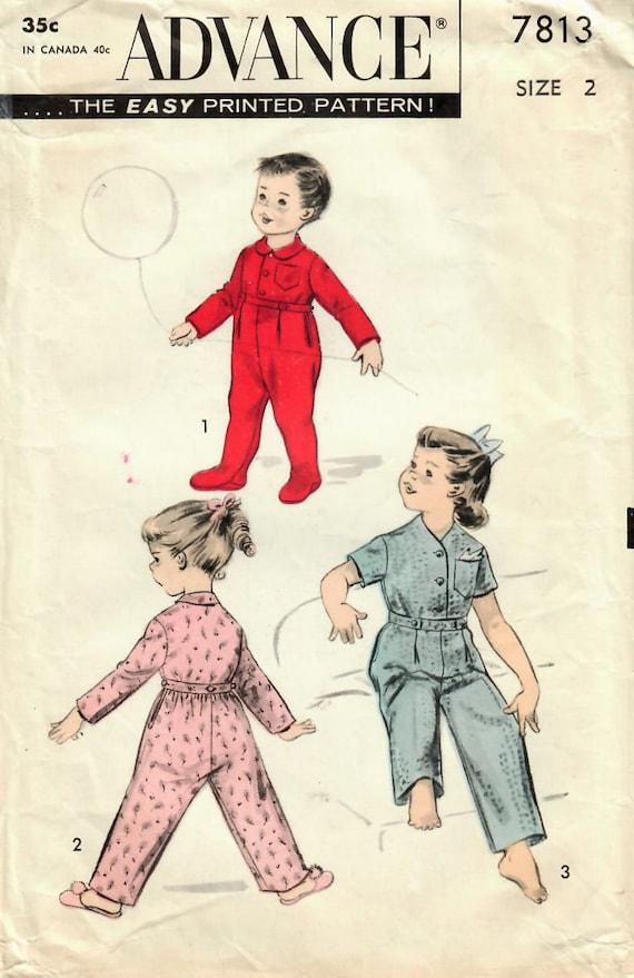 1950er Jahre vorab 7813 Vintage Nähen Muster Kleinkind Jungen