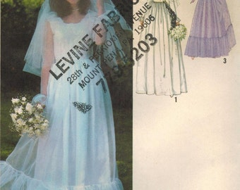 1970s Simplicity 8825 UNCUT Vintage Sewing Pattern Misses' Bridal Dress, Wedding Gown, Bridesmaid Dress Size 14 Bust 36, Size 16 Bust 38