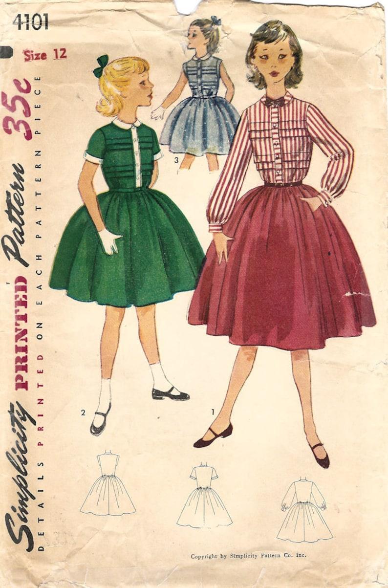 1950s Simplicity 4101 Vintage Sewing Pattern Girls Full Skirt image 0