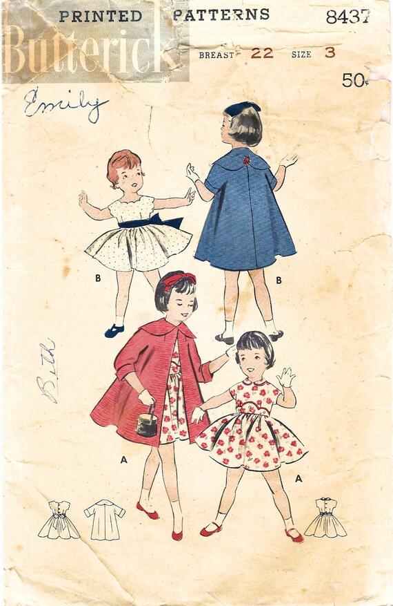 1950er Jahre Butt 8437 Vintage Nähen Muster Mädchen Party