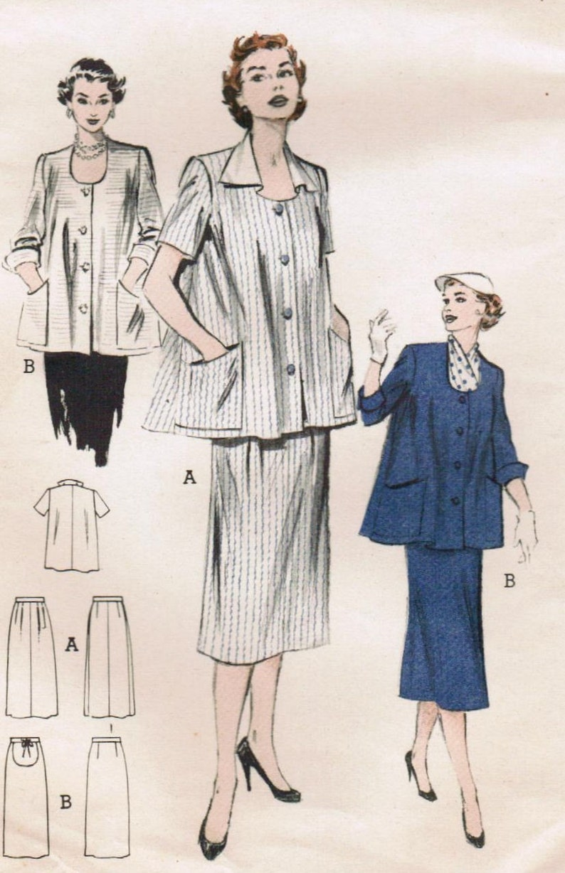 9e366b175b096 1950s Butterick 6347 Vintage Sewing Pattern Misses' Maternity Top, Smock,  Pe... 1950s Butterick 6347 Vintage Sewing Pattern Misses' Maternity Top,  Smock, ...