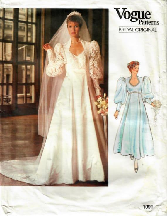 1980s Vogue 1091 Vintage Sewing Pattern Misses Wedding Dress   Etsy