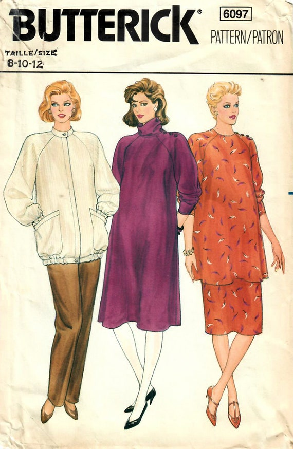 e75b534719b 1980s Butterick 6097 Vintage Sewing Pattern Misses Maternity