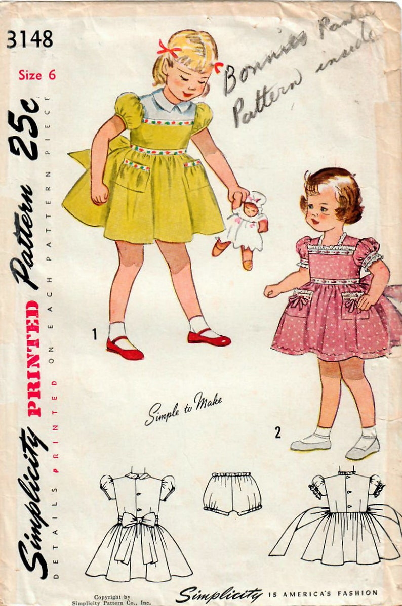 1940s Simplicity 3148 Vintage Sewing Pattern Girls One Piece image 0
