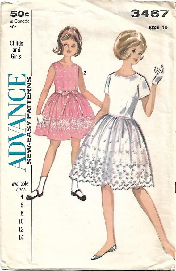 1960s Advance 3467 Vintage Sewing Pattern Girls Full Skirt | Etsy