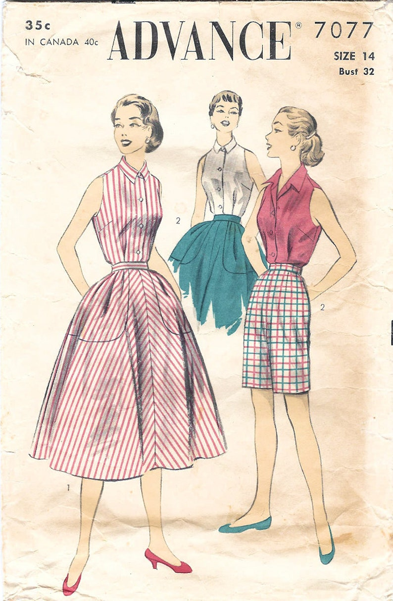 1950s Advance 7077 Vintage Sewing Pattern Misses Play image 0