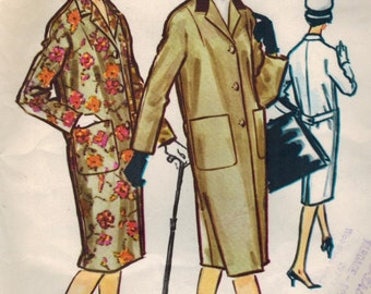 1950s McCall's 4827 Vintage Sewing Pattern Misses Tailored Coat, Chesterfield Coat, Overcoat Size 10 Bust 31