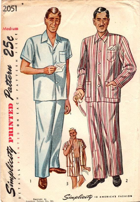 1940er Jahre Einfachheit 2051 Vintage Schnittmuster Herren kurze Pyjama lang Pyjamas Schlaf Hose, Schlaf-Shirt, Nachtwäsche Größe Small, Medium