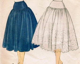 1950s McCall's 9973 Vintage Sewing Pattern Misses' Petticoat Size Waist 24