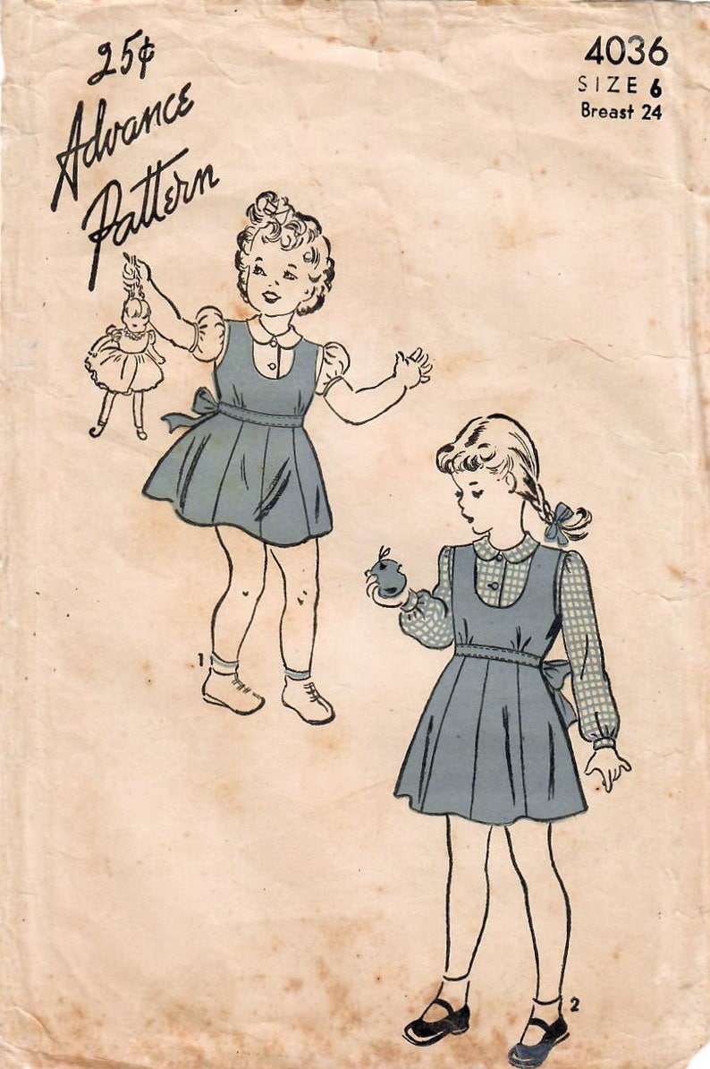 1940s Advance 4036 Vintage Sewing Pattern Girls Jumper and image 0