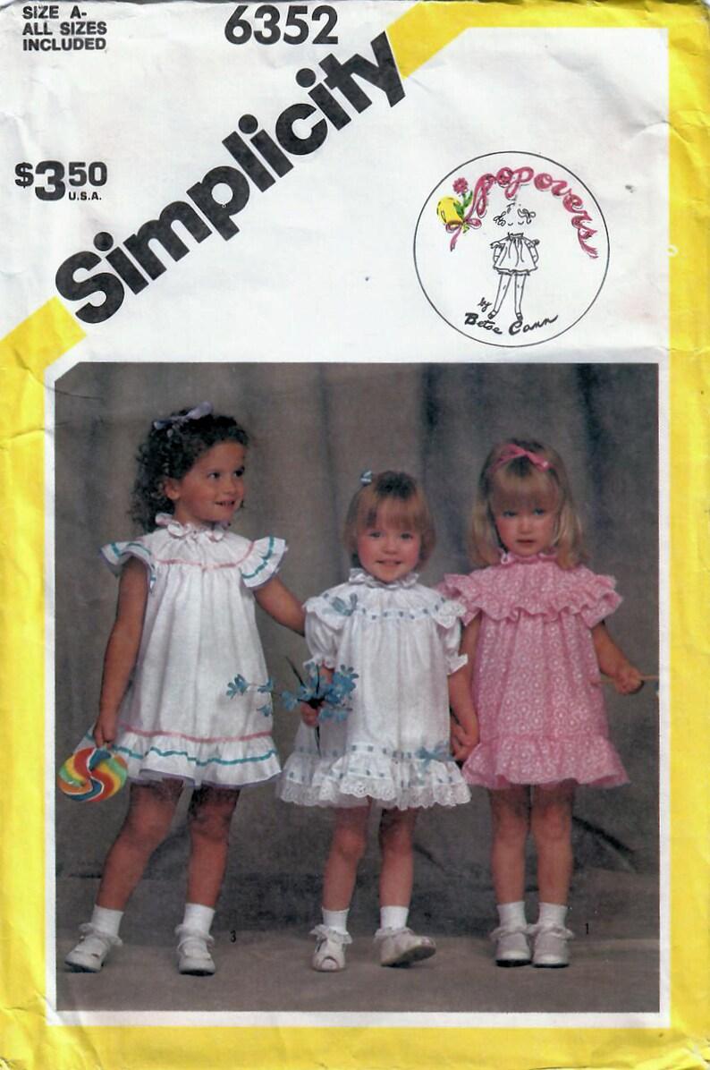 1980s Simplicity 6352 UNCUT Vintage Sewing Pattern Toddler image 0