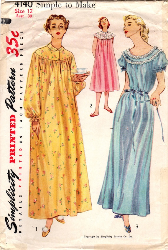 1950s Simplicity 4140 Vintage Sewing Pattern Misses Long  3b43fb184