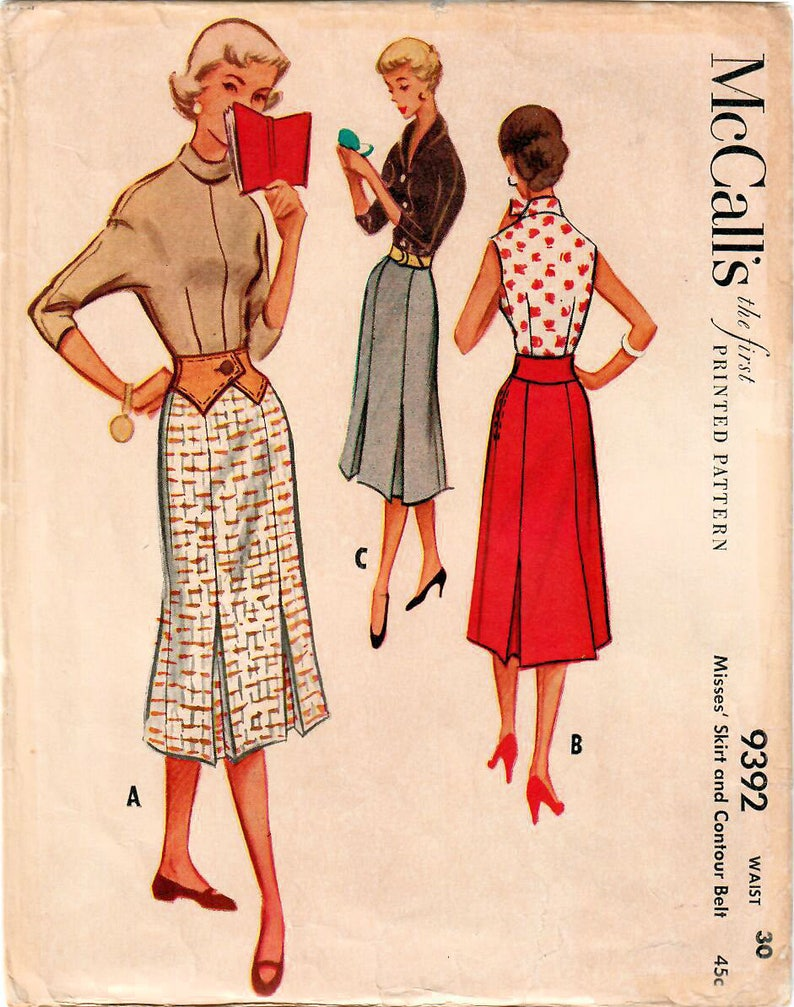 1950s McCall's 9392 Vintage Sewing Pattern Misses Flared image 0