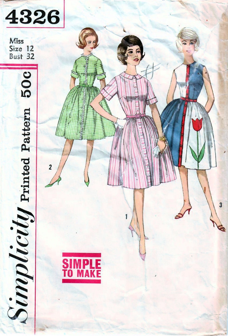 1960s Simplicity 4326 Vintage Sewing Pattern Misses One-Piece image 0
