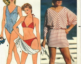 1980s Butterick 6555 Vintage Sewing Pattern Misses One Piece Swimsuit, Maillot, Two Piece Swimsuit, Bikini, Beach Coverup Size 8 Bust 31-1/2
