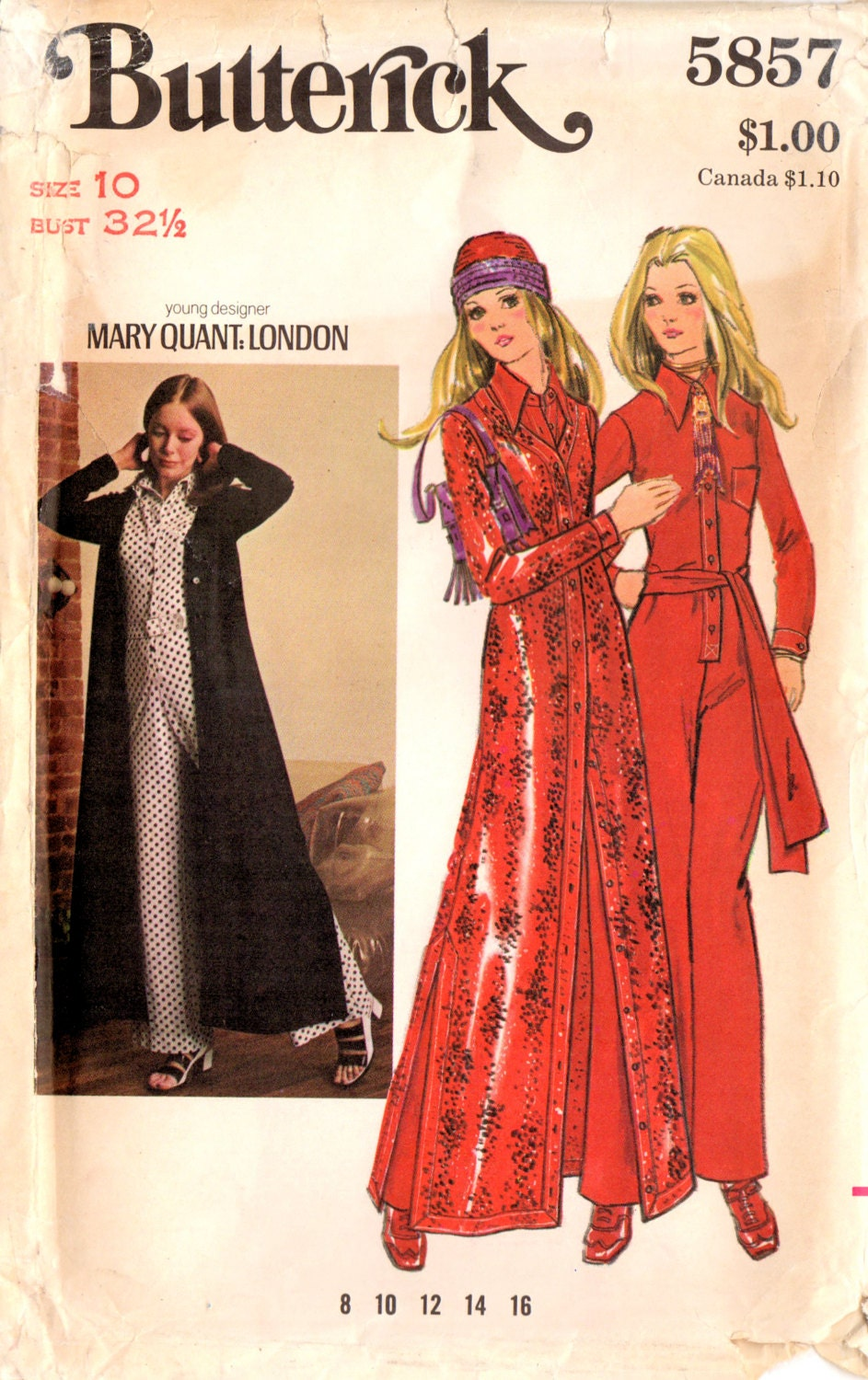 1970s Mary Quant jumpsuit and cardigan pattern Butterick 5857