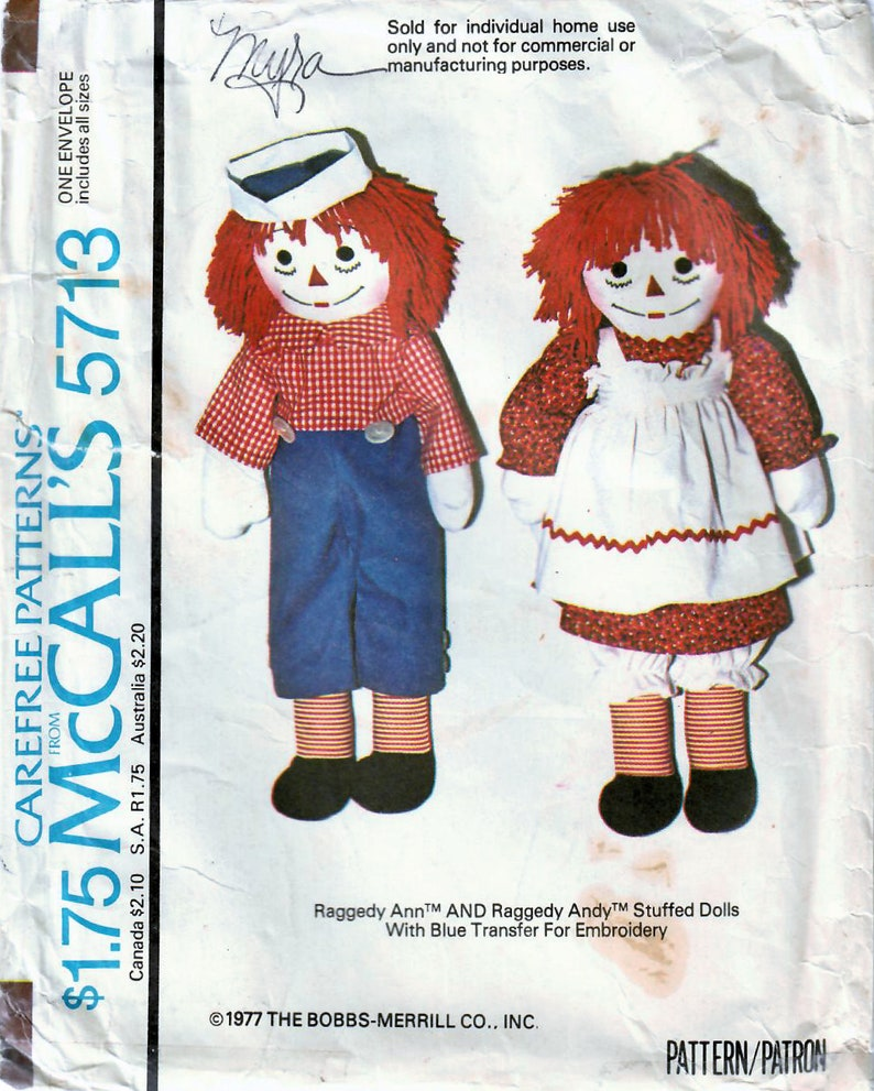1970s McCall's 5713 UNCUT Vintage Craft Pattern Raggedy image 0