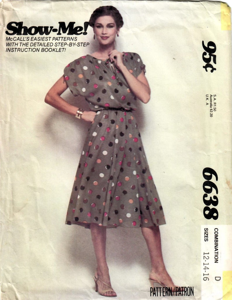 1970s McCall's 6638 Vintage Sewing Pattern Misses Loose image 0