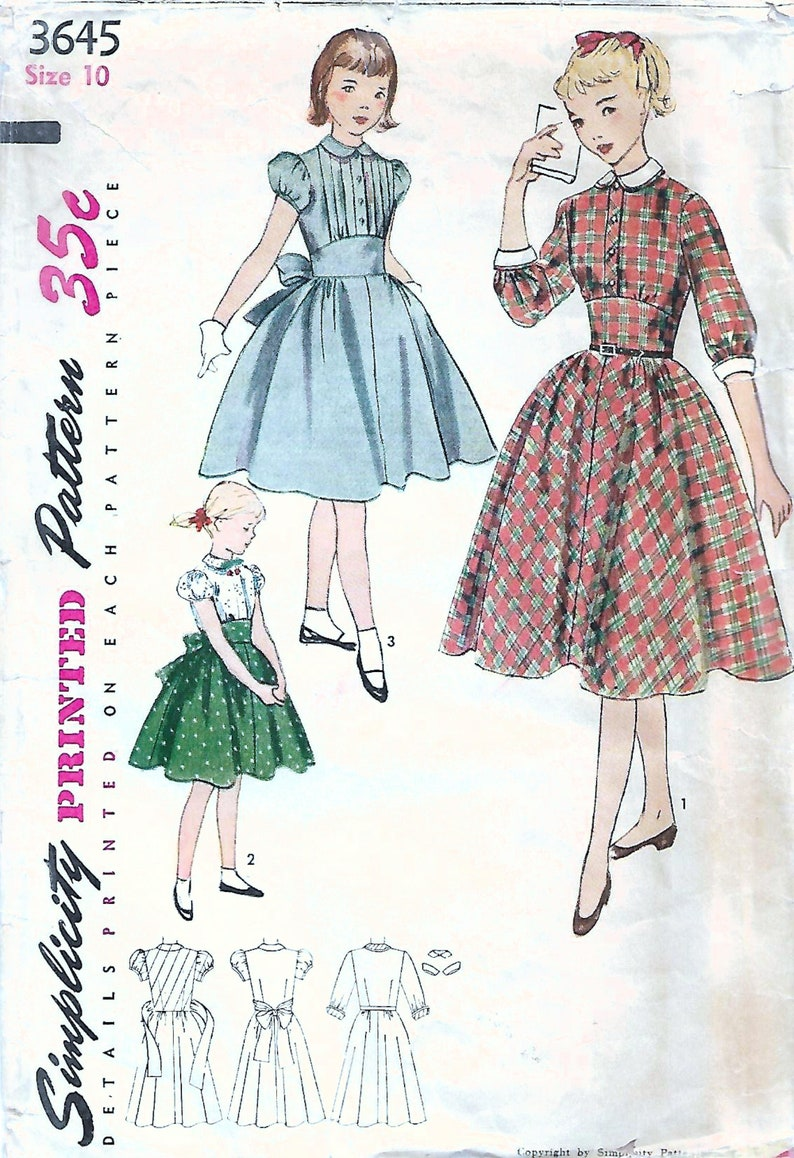 1950s McCall's 3645 Vintage Sewing Pattern Girls One Piece image 0