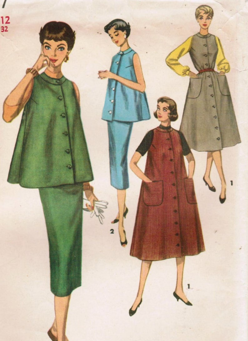 1801aacf04d 1950s Simplicity 1697 Vintage Sewing Pattern Misses Maternity