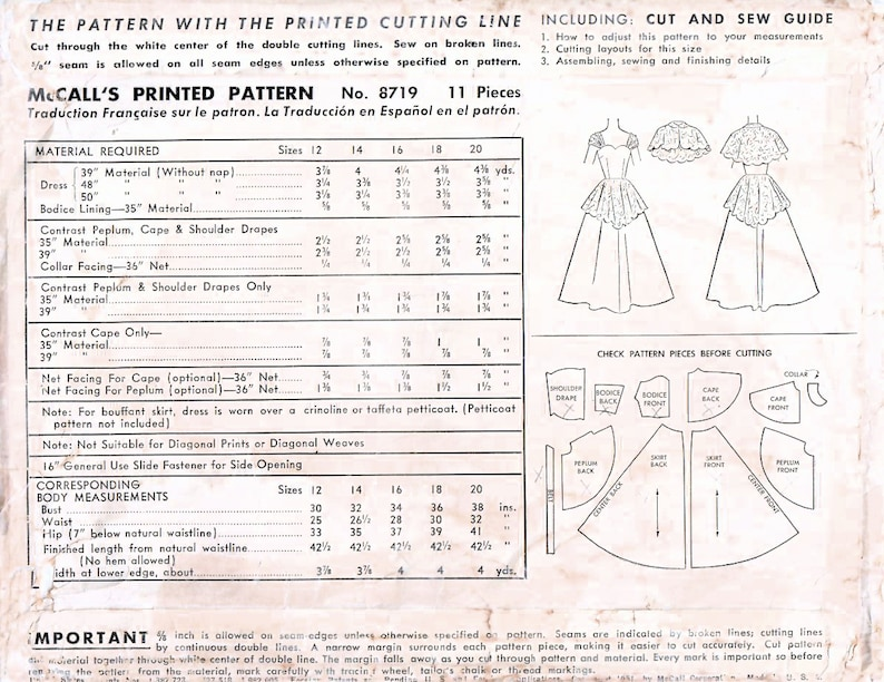 1950s McCall/'s 8719 Vintage Sewing Pattern Misses Evening Dress Formal Gown Size 14 Bust 32