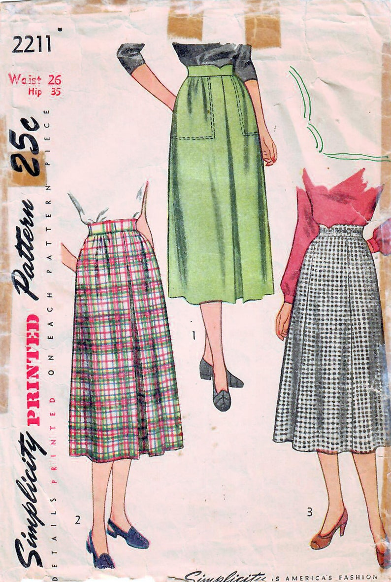 1940s Simplicity 2211 Vintage Sewing Pattern Misses Skirt image 0