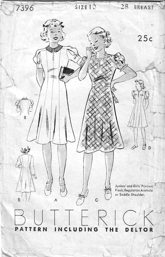 1930er Jahre Butt 7396 Vintage Nähen Muster Mädchen Prinzessin | Etsy