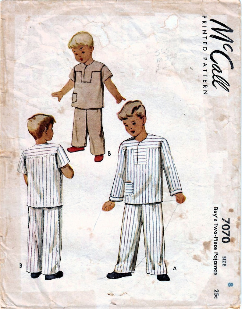 1940s McCall 7070 Vintage Sewing Pattern Boys Long Pajamas Size 8